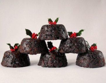 Christmas Pudding Icecream Cake with Peach Salad