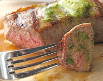 Steak with Herbed Garlic Butter and Spinach