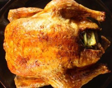 Farro and Feta Stuffed Roast Chicken and Veg