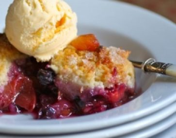 Plum and Blueberry Cobbler