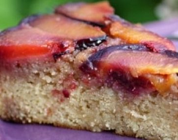Plum and Cherry Upside Down Cake